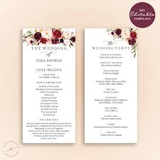 program for wedding ceremony template wedding program editable template marsala burgundy floral