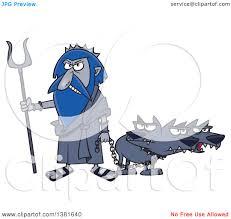 clipart of a cartoon greek god hades with his three headed dog