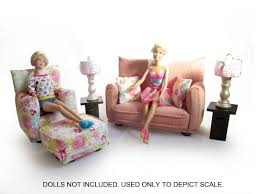 barbie doll living room furniture 9 pc play set 1 6 scale light
