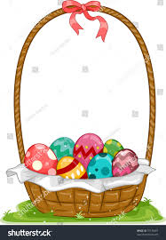 illustration easter basket filled easter eggs stock vector