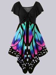 plus size empire waist butterfly print dress in black and pink 5xl