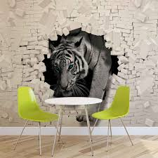 wall mural photo wallpaper xxl brick wall hole tiger 10400ws ebay image is loading wall mural photo wallpaper xxl brick wall hole