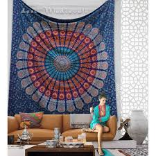 Bedroom Tapestry Indian Wall Bedroom by Indian Blue Orange Mandala Queen Size Boho Wall Bedding