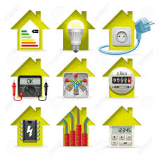 icons installation of electrical equipment and wiring in the