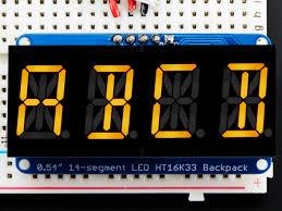 quad alphanumeric display yellow 0 54 digits w i2c backpack id