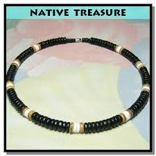 black shell necklace images Native treasure black wood coco bead puka shell necklace or jpg