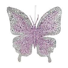 smith silver lt purple glitter butterfly ornament with clip