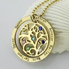 personalized family tree necklace birthstone family tree necklace gold personalized necklace
