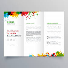 free tri fold business brochure templates trifold business brochure template with colorful paint stains