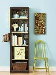 Decorating Bookshelves Ideas by Before U0026 After Bookshelf Cover The Back Of A Bookcase With Fabric