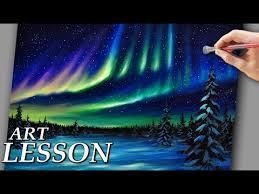 how to paint northern lights acrylic landscape painting lesson northern lights and night stars