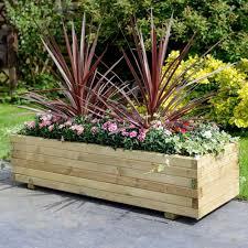 wooden patio rectangular planter garden large furniture flower