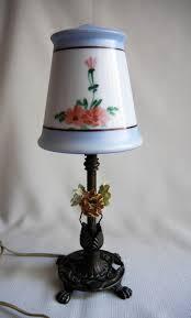 vintage satin glass boudoir lamp claw foot cast iron ornate base