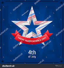 Blue Flag White Star Happy Independence Day 4th July Vector Stock Vector 441811972