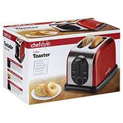 Red 2 Slice Toaster Chefstyle 2 Slice Toaster Metallic Red Shop Toasters At Heb