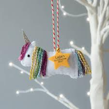 rainbow unicorn personalised christmas tree decoration by miss