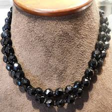 black double choker necklace images French jet black glass necklace choker from pattysjewelryetc on jpg