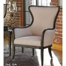 Uttermost Furniture Uttermost Sandy Sandy White Wing Back Armchair In Weathered Black