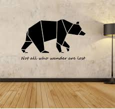 origami bear wall decal not all who wander are lost sticker art