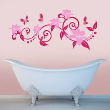 swirly branch with flowers and butterflies wall stickers decals magenta and pink swirly branch with flowers and butterflies wall sticker