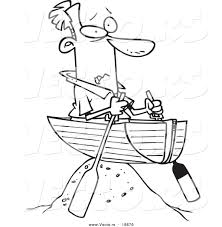 vector of a cartoon man left high and dry in a boat outlined