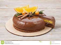 chocolate mousse cake with oranges and mirror glaze stock image