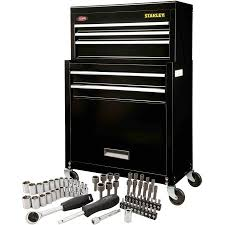 stanley tool chest cabinet stanley rolling tool chest with bonus 68 piece mechanic set