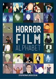 film quiz poster horror film alphabet poster that quizzes your horror movie knowledge