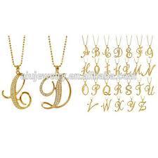 design necklace charm images Gold tone letter design charm pendant necklace choices a to z jpg