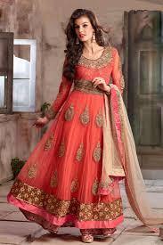 Color Image Online by Peach Color Designer Anarkali Suit 4105a Designer Anarkali