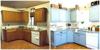 painting oak cabinets white before and after refinishing wood kitchen cabinet