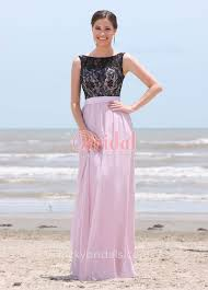 black lace and lilac chiffon two tone beach a line long bridesmaid