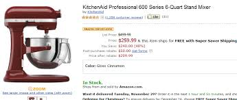 kitchenaid stand mixer black friday sale amazon 209 kitchenaid deal on amazon rebate update