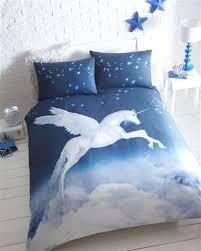 Teal Single Duvet Cover Blue Mystical Unicorn Duvet Cover Bed Set Double Amazon Co Uk