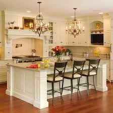 gorgeous kitchen room design with luxurious twin chandelier and