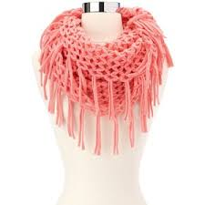 open knit fringe infinity scarf charlotte russe polyvore