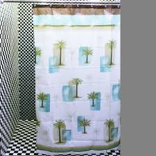 Tropical Beach Shower Curtains by Chic White Baby Blue Palm Tree Shower Curtains