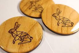 rabbit coaster set minimalist geometric bunny design modern