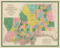 Ms Map Old State Map Louisiana Mississippi Alabama 1827
