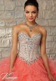 coral quince dress 89030 quinceanera gowns two tone satin and tulle with beading