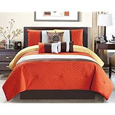 Orange And White Comforter Set Amazon Com 7 Pieces Luxury Coral Orange Beige And White Quilted