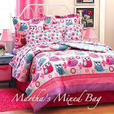 Bedding Sets Full For Girls by Hoot Owls Girls Pink Teal Nature Flowers Twin Full Queen Size