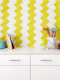kitchen creative yellow geometric tiles kitchen nice backsplash