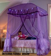 4 Poster Bed With Curtains Stylish Purple Canopy Bed For Girls Room Curtain Designs