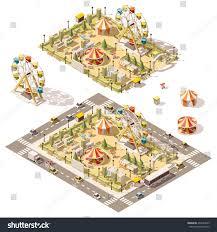 vector isometric low poly amusement park stock vector 496169623