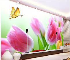 tulip wall mural promotion shop for promotional tulip wall mural custom photo non woven mural 3d wallpapers for living room picture tulip butterfly flowers painting 3d wall murals wallpaper