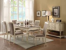 Marble Living Room Table Acme 71705 7pcs Antique White Faux Marble Top Dining Table Set