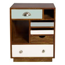 End Tables For Bedroom by Rustic Brown Wooden Bedside Table With Blue And White Plywood