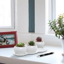 amazon com 4 piece small white ceramic planter set kitchen herb