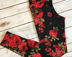 red patterned leggings printed leggings etsy